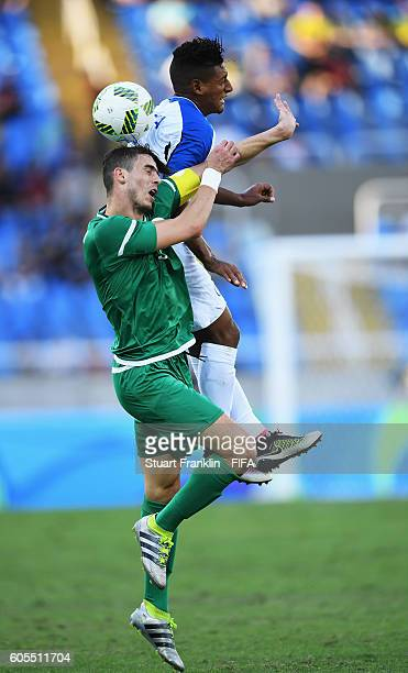 Bryan Acosta of Honduras is challenged by Ayoub Abdellaoui of Algeria during the Olympic Men's Football match between Honduras and Algeria at Olympic...