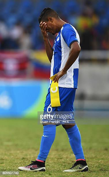 Bryan Acosta of Honduras looks dejected during the Olympic Men's Football match between Honduras and Portugal at Olympic Stadium on August 7 2016 in...