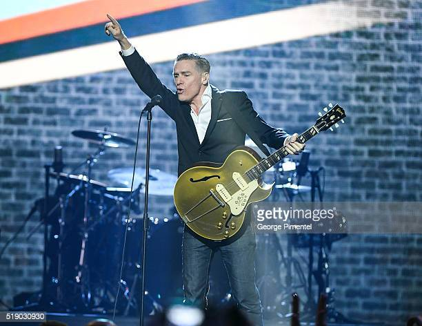 Bryan Adams performs at the 2016 Juno Awards at Scotiabank Saddledome on April 3 2016 in Calgary Canada
