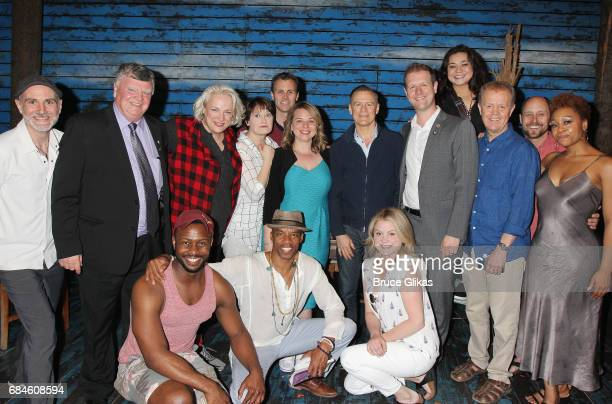 Bryan Adams poses with the cast and the Mayor of Gander Claude Elliott backstage at the hit musical 'Come From Away' on Broadway at The Gerald...