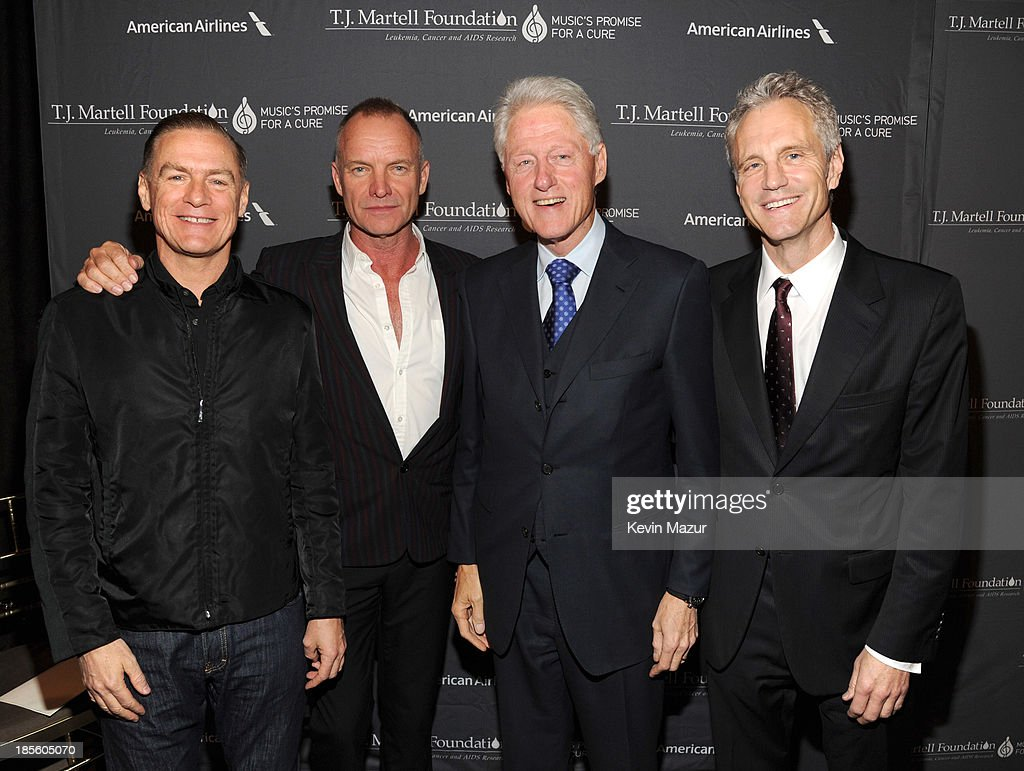 Bryan Adams Sting President Bill Clinton and John Sykes attend TJ Martell Foundation's 38th Annual Honors Gala at Cipriani 42nd Street on October 22...