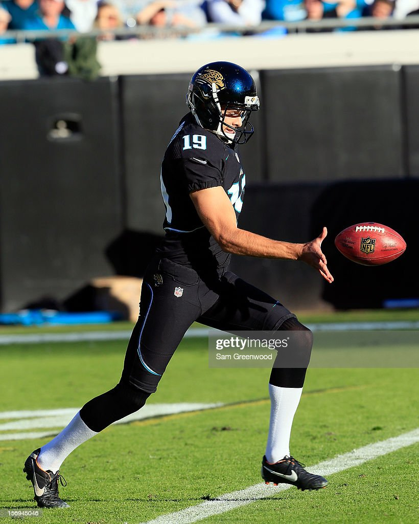Bryan Anger #19 of the Jacksonville Jaguars attempts a punt during the game against the Tennessee Titans at EverBank Field on November 25, 2012 in Jacksonville, Florida.