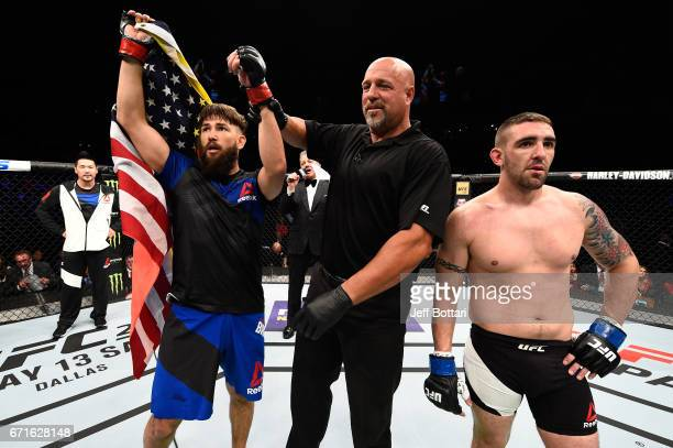 Bryan Barberena celebrates after defeating Joe Proctor in their welterweight bout during the UFC Fight Night event at Bridgestone Arena on April 22...
