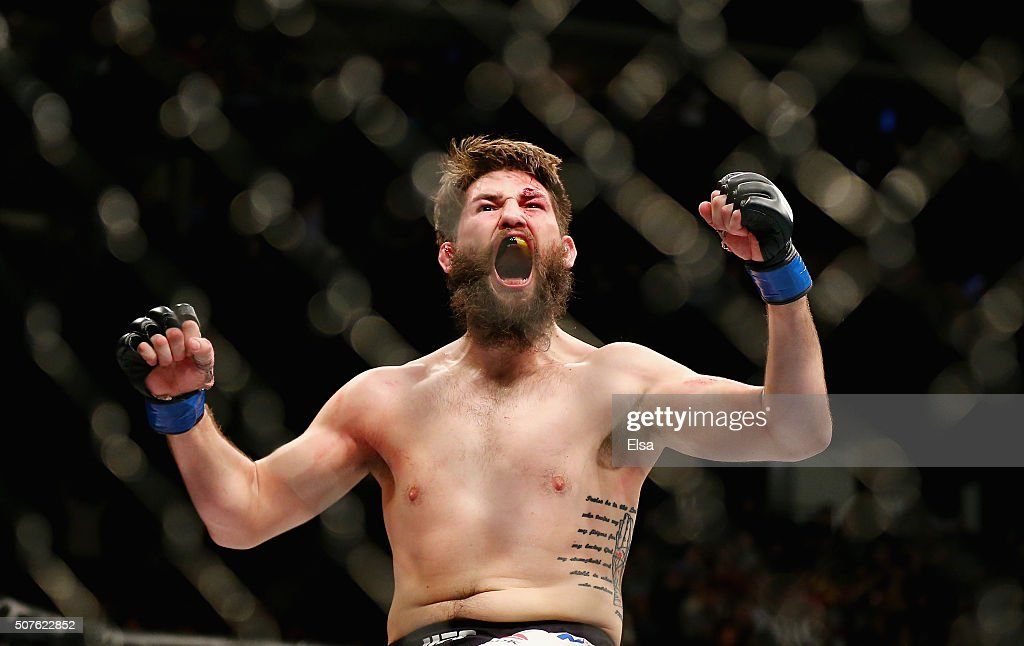 Bryan Barberena of the United States celebrates his second round submission by arm triangle over Sage Northcutt of the United States in their welterweight bout during the UFC Fight Night event at the Prudential Center on January 30, 2016 in Newark, New Jersey.