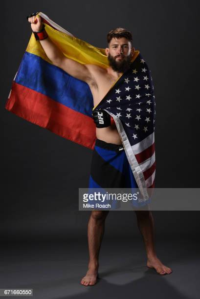 Bryan Barberena poses for a portrait backstage after his victory over Joe Proctor during the UFC Fight Night event at Bridgestone Arena on April 22...