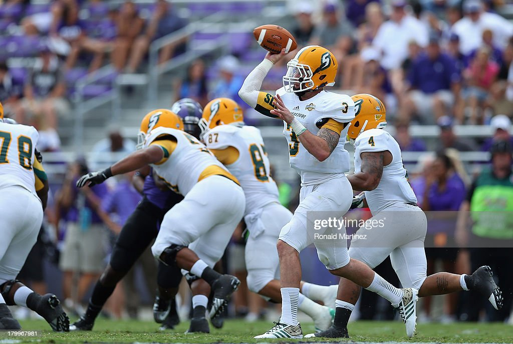 Bryan Bennett #3 of the Southeastern Louisiana Lions throws against the TCU Horned Frogs at Amon G. Carter Stadium on September 7, 2013 in Fort Worth, Texas.