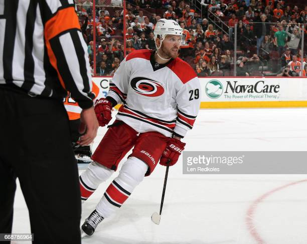 Bryan Bickell of the Carolina Hurricanes reacts after scoring a goal in the shootout against the Philadelphia Flyers on April 9 2017 at the Wells...
