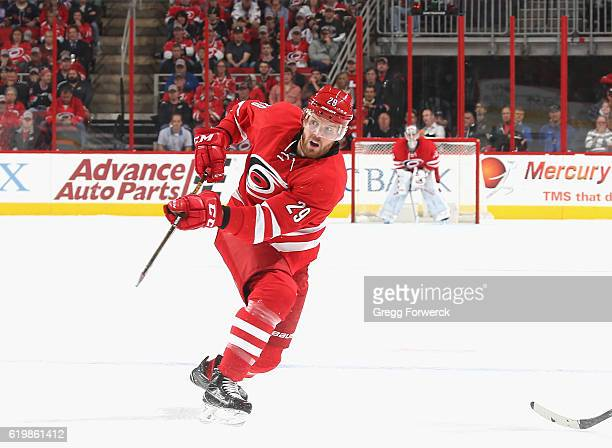 Bryan Bickell of the Carolina Hurricanes shoots the puck during an NHL game against the New York Rangers on October 28 2016 at PNC Arena in Raleigh...