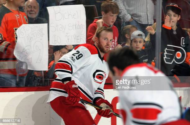 Bryan Bickell of the Carolina Hurricanes skates during warmups prior to his game against the Philadelphia Flyers on April 9 2017 at the Wells Fargo...