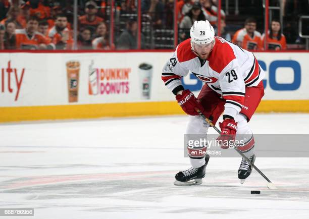 Bryan Bickell of the Carolina Hurricanes skates the puck in for a shootout attempt on goal against the Philadelphia Flyers on April 9 2017 at the...