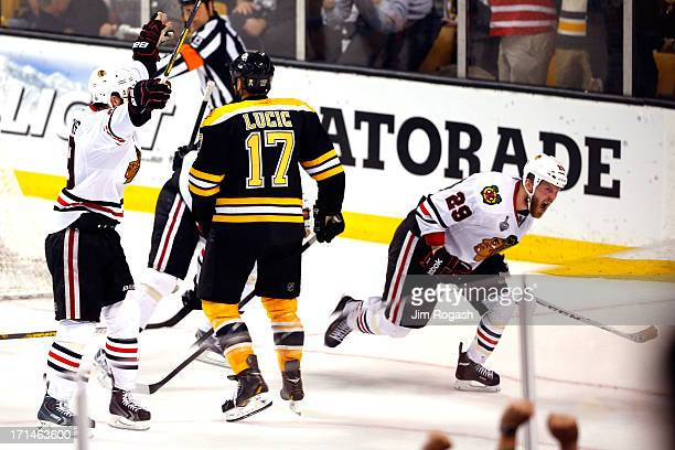 Bryan Bickell of the Chicago Blackhawks celebrates after scoring in the third period against the Boston Bruins in Game Six of the 2013 NHL Stanley...