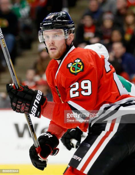 Bryan Bickell of the Chicago Blackhawks plays in a game against the Dallas Stars at the United Center on January 4 2015 in Chicago Illinois