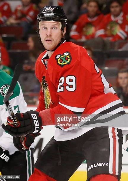 Bryan Bickell of the Chicago Blackhawks plays in the game against the Dallas Stars at the United Center on November 16 2014 in Chicago Illinois