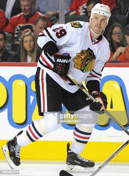 Bryan Bickell of the Chicago Blackhawks plays in the game against the Calgary Flames at Scotiabank Saddledome on November 20 2014 in Calgary Alberta...