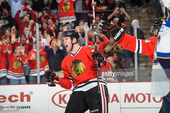 Bryan Bickell of the Chicago Blackhawks reacts after scoring and tying the game against the St Louis Blues in Game Four of the First Round of the...