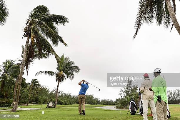 Bryan Bigley tees off on the first hole during the first round of The Bahamas Great Exuma Classic at Sandals Emerald Reef Course on January 8 2017 in...