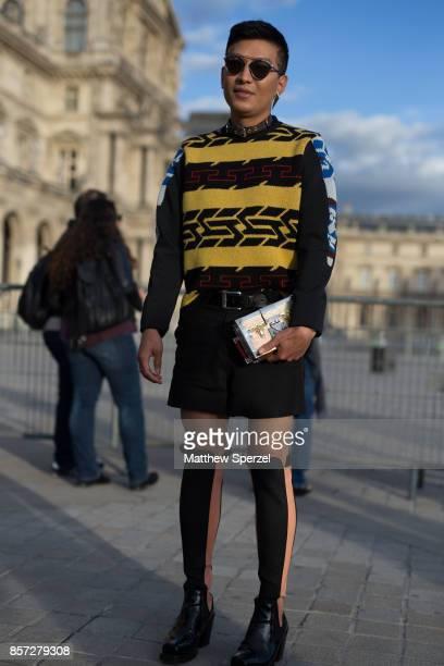 Bryan Boy is seen attending Louis Vuitton during Paris Fashion Week wearing Louis Vuitton on October 3 2017 in Paris France