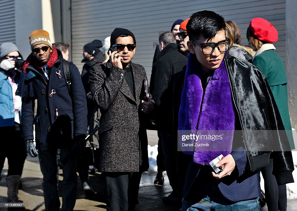 Bryan Boy(R) is seen outside the Prabal Gurung show on February 9, 2013 in New York City.