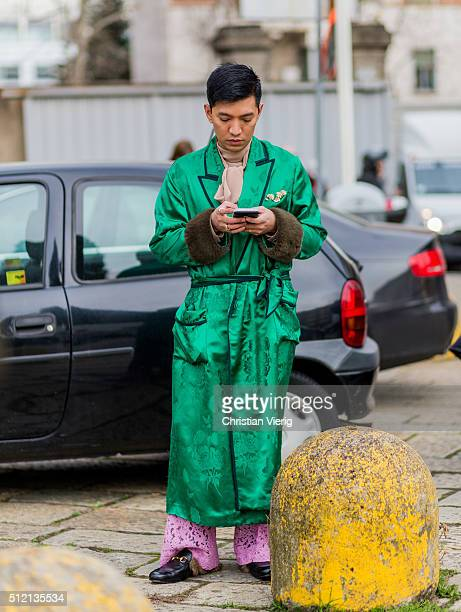 Bryan Boy seen outside Gucci during Milan Fashion Week Fall/Winter 2016/17 on February 24 2016 in Milan Italy
