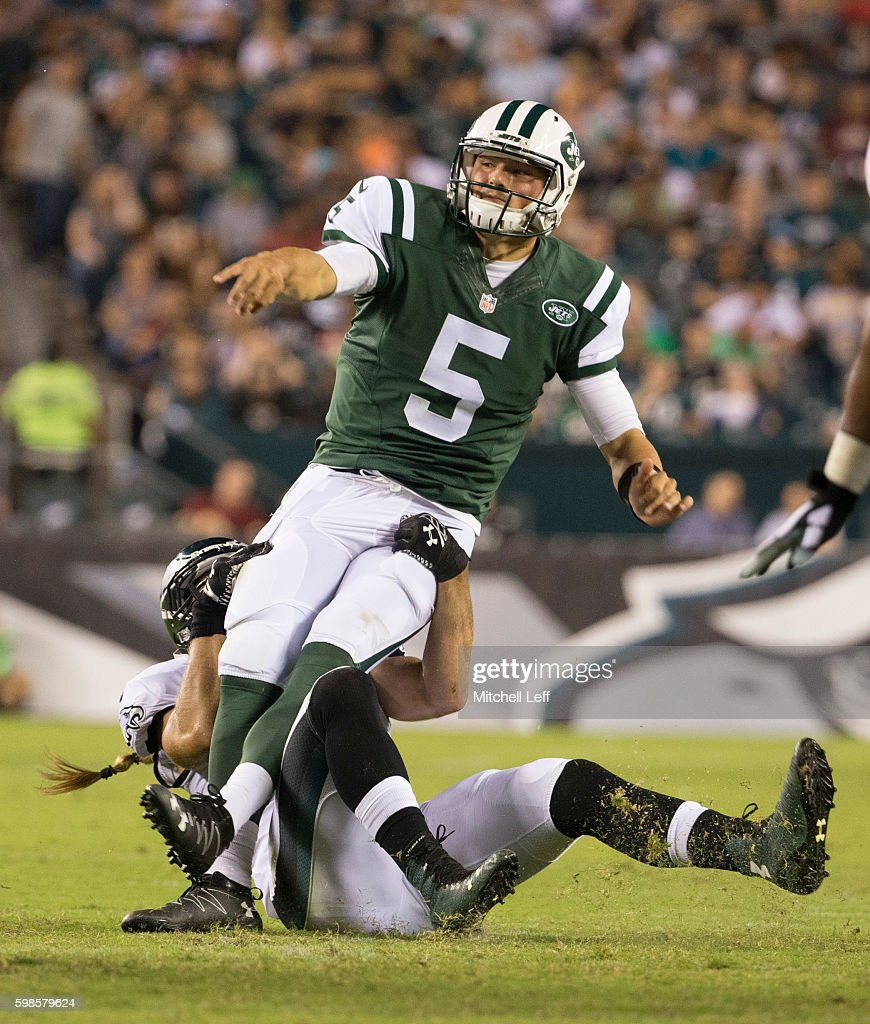 Bryan Braman #56 of the Philadelphia Eagles hits Christian Hackenberg #5 of the New York Jets and forces a turnover in the third quarter at Lincoln Financial Field on September 1, 2016 in Philadelphia, Pennsylvania. The Eagles defeated the Jets 14-6.
