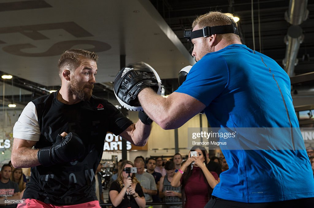 Bryan Caraway holds an open workout for the fans and media at the Las Vegas Harley-Davidson on May 27, 2016 in Las Vegas Nevada.
