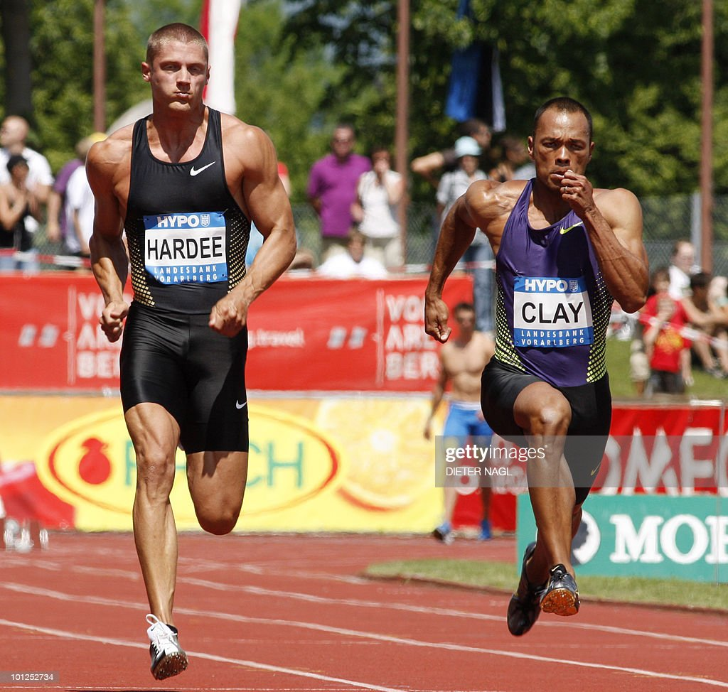 US Bryan Clay competes with countryman Trey Hardee (L) in the 100 meter event at the first day of the Men's decathlon meeting held in Goetzis, Austria on May 29, 2010 some 640 kilometers west of Vienna.