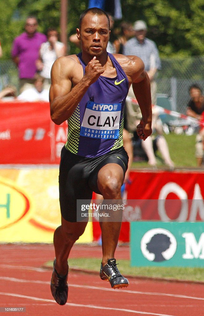 Bryan Clay of USA competes in the 100 meter event on the first day of the Men's decathlon meeting held in Goetzis, Austria on May 29, 2010 some 640 kilometers west of Vienna.