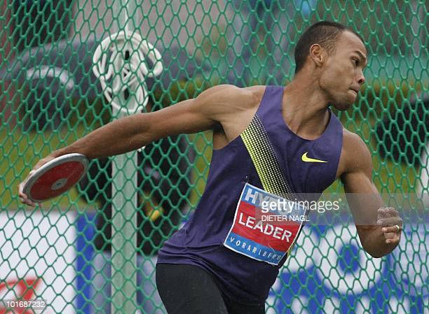 US Bryan Clay throws a discus during the men's discus throw event at the second day of the Men's decathlon meeting held in Goetzis Austria on May 30...