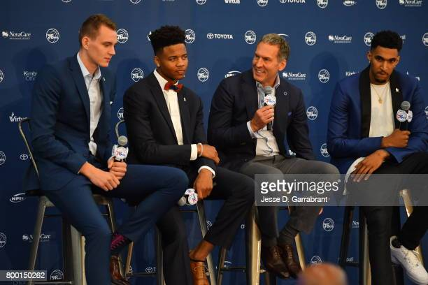 Bryan Colangelo introduces the Philadelphia 76ers draftees at a press conference announcing Anzejs Pasecniks Markelle Fultz Jonah Bolden and Mathias...