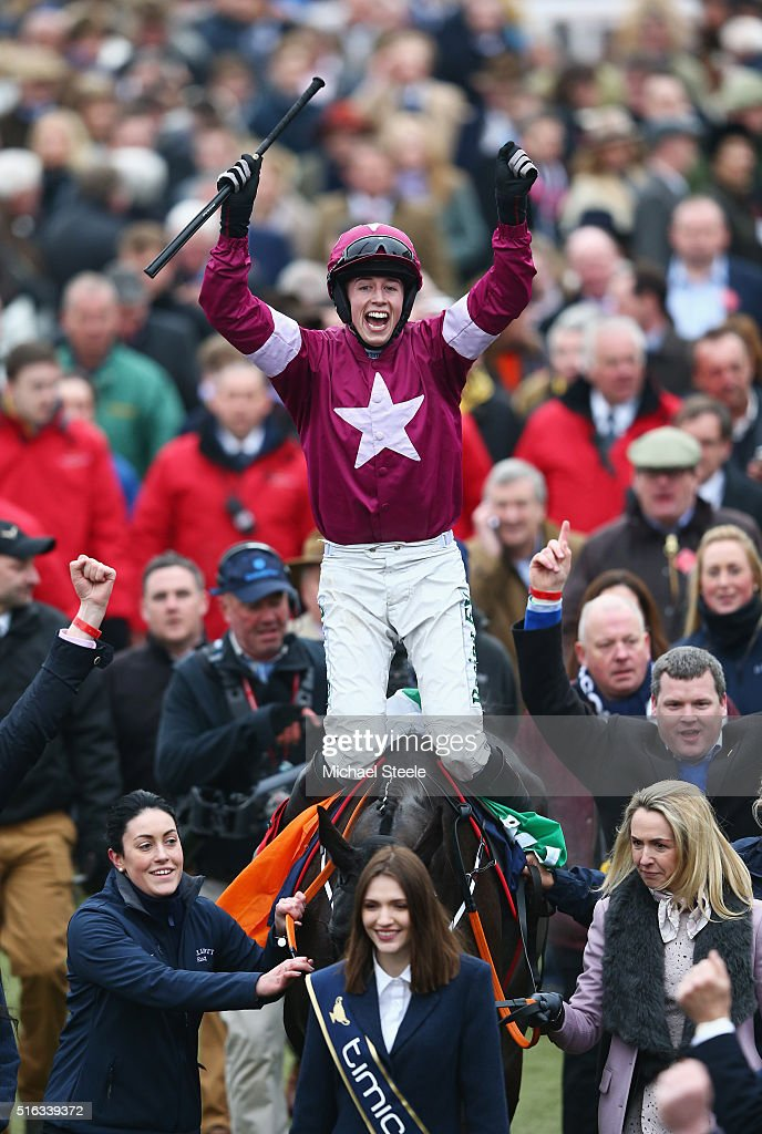 Bryan Cooper on Don Cossack celebrates victory after winning the Timico Cheltenham Gold Cup Chase as part of the Cheltenham Festival at Cheltenham Racecourse on March 18, 2016 in Cheltenham, England.