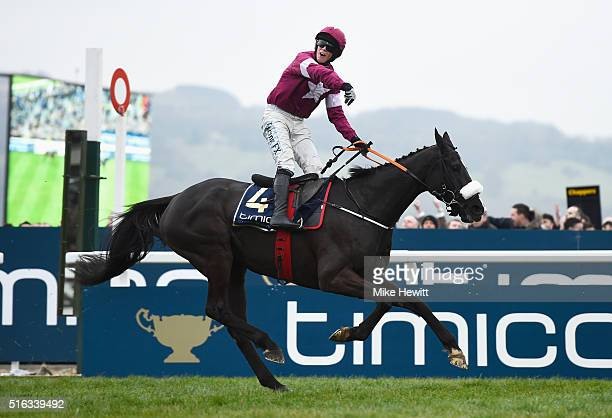 Bryan Cooper on Don Cossack celebrates victory after winning the Timico Cheltenham Gold Cup Chase as part of the Cheltenham Festival at Cheltenham...