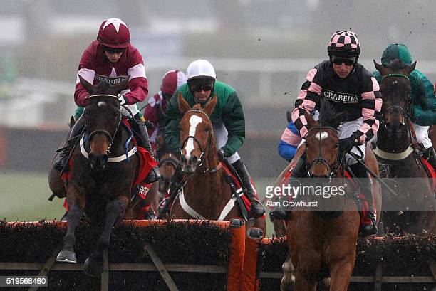 Bryan Cooper riding Apple's Jade on their way to winning The betfred Anniversary 4YO Juvenile Hurdle Race at Aintree Racecourse on April 7 2016 in...