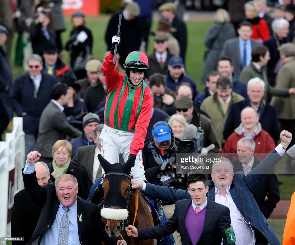 <a gi-track='captionPersonalityLinkClicked' href=/galleries/search?phrase=Bryan+Cooper+-+Jockey&family=editorial&specificpeople=15304641 ng-click='$event.stopPropagation()'>Bryan Cooper</a> riding Benefficient win The Jewson Novices' Steeple Chase during St Patrick's Thursday at Cheltenham racecourse on March 14, 2013 in Cheltenham, England.