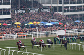 Bryan Cooper riding Don Poli powers his way to victory along the mainstand during day two of the Cheltenham Festival at Cheltenham Racecourse on...
