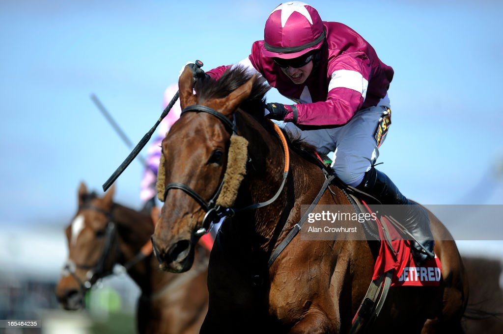<a gi-track='captionPersonalityLinkClicked' href=/galleries/search?phrase=Bryan+Cooper+-+Jockey&family=editorial&specificpeople=15304641 ng-click='$event.stopPropagation()'>Bryan Cooper</a> riding First Lieutenant clear the last to win The Betfred Bowl Steeple Chase at Aintree racecourse on April 04, 2013 in Liverpool, England.