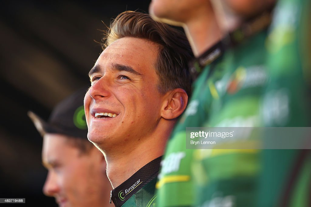 <a gi-track='captionPersonalityLinkClicked' href=/galleries/search?phrase=Bryan+Coquard&family=editorial&specificpeople=8795501 ng-click='$event.stopPropagation()'>Bryan Coquard</a> of France and Team Europcar attends the team presentation ahead of the 2015 Artic Race of Norway, on August 12, 2015 in Harstad, Norway.