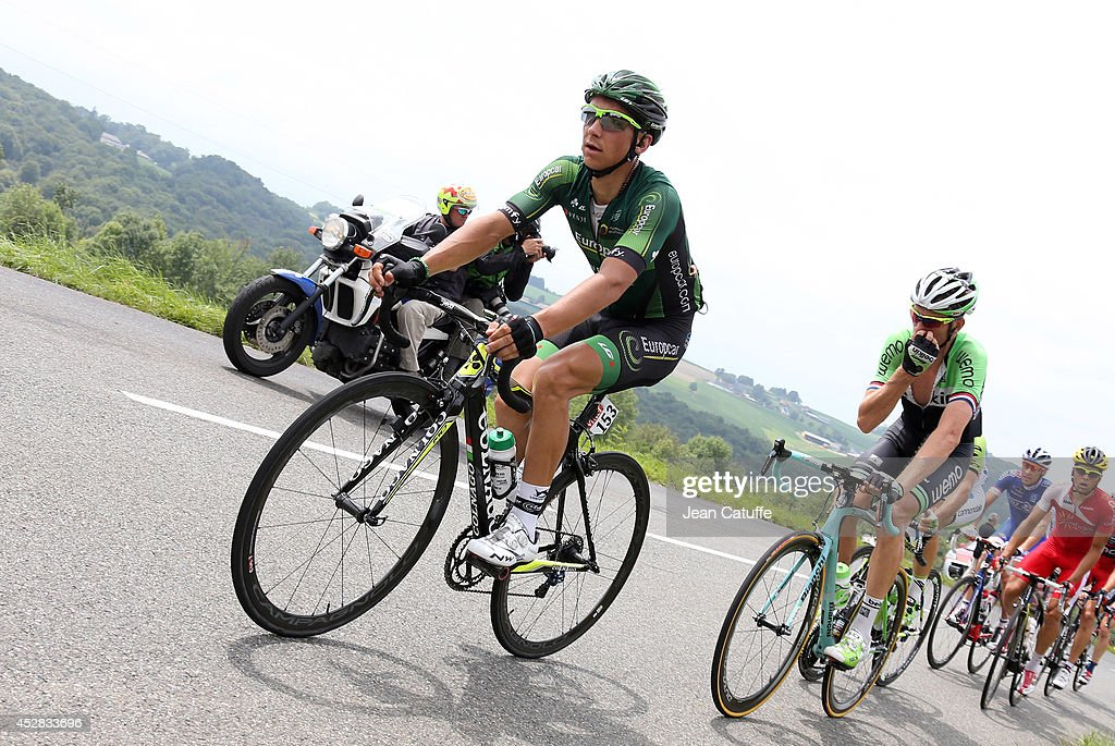 <a gi-track='captionPersonalityLinkClicked' href=/galleries/search?phrase=Bryan+Coquard&family=editorial&specificpeople=8795501 ng-click='$event.stopPropagation()'>Bryan Coquard</a> of France and Team Europcar leads the race during stage eighteen of the 2014 Tour de France, a 146 km road stage from Pau to Hautacam on July 24, 2014 in Hautacam, France.
