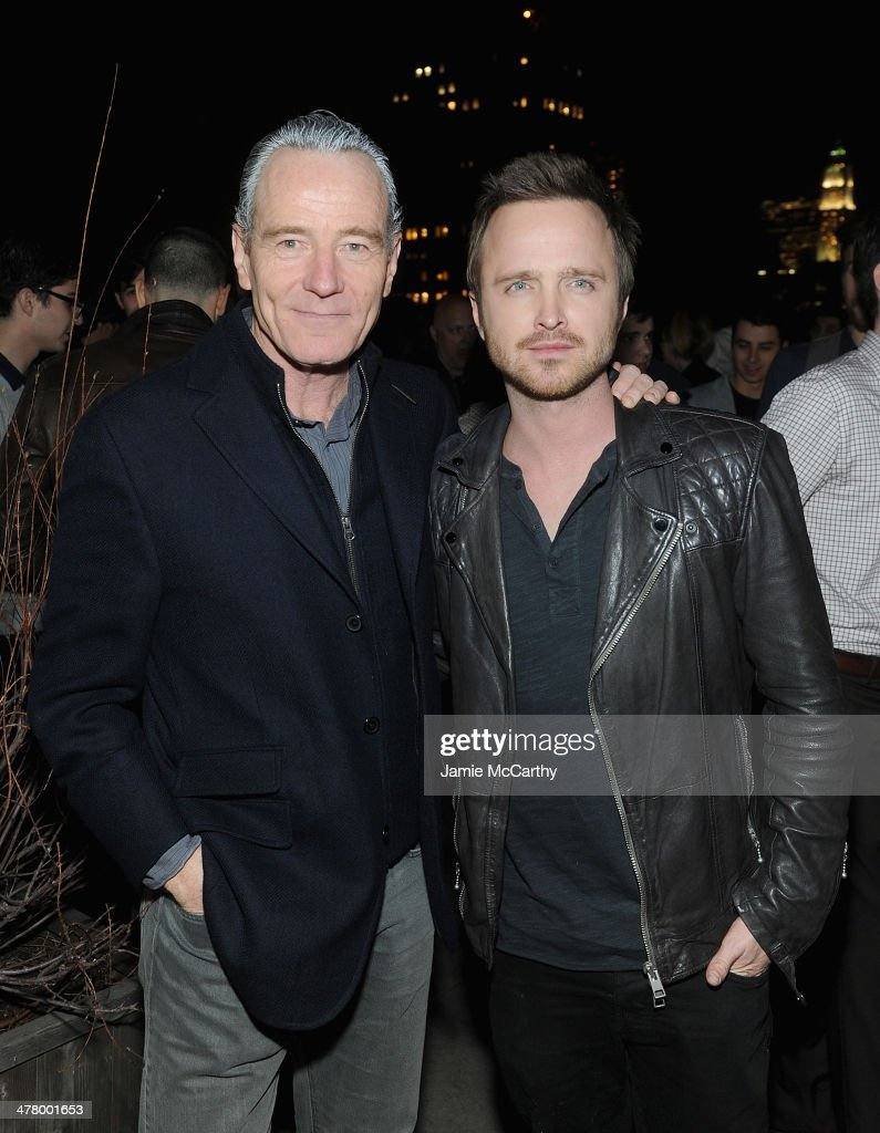<a gi-track='captionPersonalityLinkClicked' href=/galleries/search?phrase=Bryan+Cranston&family=editorial&specificpeople=217768 ng-click='$event.stopPropagation()'>Bryan Cranston</a> and Aaron Paul attend DreamWorks Picture' 'Need For Speed' screening hosted by The Cinema Society and Bushmill's after party at Jimmy At The James Hotel on March 11, 2014 in New York City.