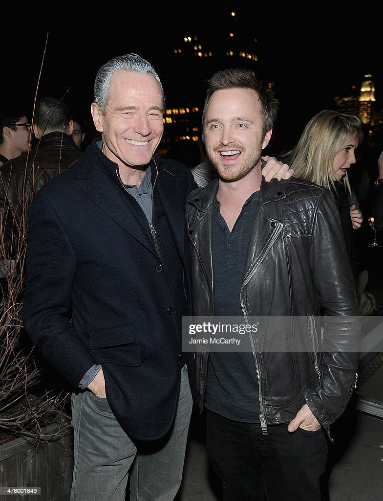 <a gi-track='captionPersonalityLinkClicked' href=/galleries/search?phrase=Bryan+Cranston&family=editorial&specificpeople=217768 ng-click='$event.stopPropagation()'>Bryan Cranston</a> and <a gi-track='captionPersonalityLinkClicked' href=/galleries/search?phrase=Aaron+Paul+-+Actor&family=editorial&specificpeople=693211 ng-click='$event.stopPropagation()'>Aaron Paul</a> attend DreamWorks Picture' 'Need For Speed' screening hosted by The Cinema Society and Bushmill's after party at Jimmy At The James Hotel on March 11, 2014 in New York City.