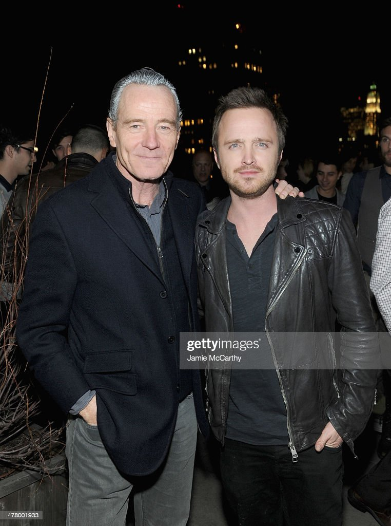 Bryan Cranston and Aaron Paul attend DreamWorks Picture' 'Need For Speed' screening hosted by The Cinema Society and Bushmill's after party at Jimmy At The James Hotel on March 11, 2014 in New York City.