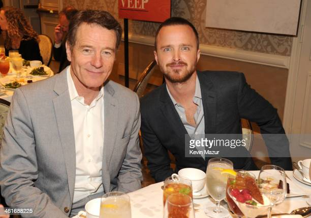 Bryan Cranston and Aaron Paul attend the 14th annual AFI Awards Luncheon at the Four Seasons Hotel Beverly Hills on January 10 2014 in Beverly Hills...