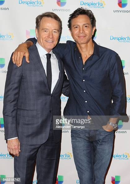Bryan Cranston and Benjamin Bratt are seen on the set of 'Despierta America' to promote the film 'The Infiltrator' at Univision Studios on July 7...