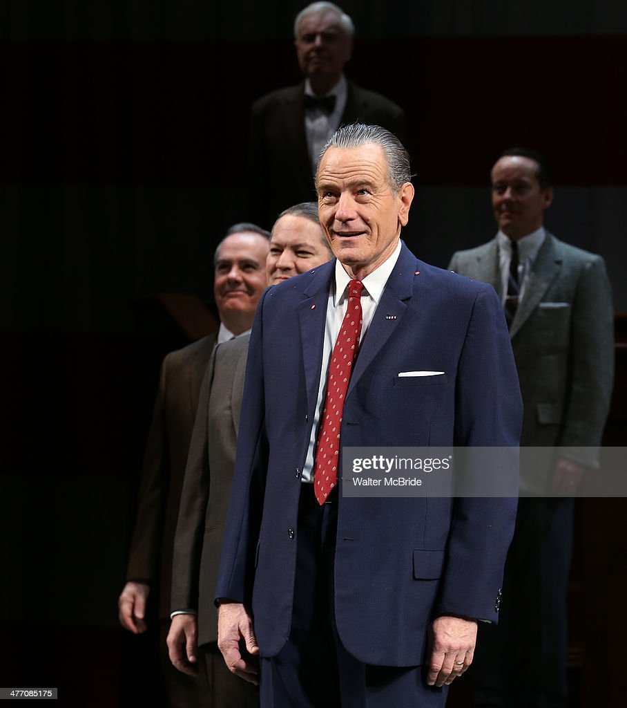 Bryan Cranston and cast during the Broadway opening night performance curtain call for 'All The Way' at The Neil Simon Theatre on March 6, 2014 in New York City.