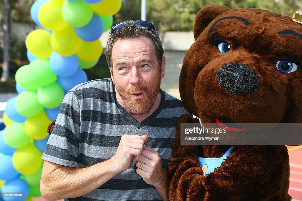 <a gi-track='captionPersonalityLinkClicked' href=/galleries/search?phrase=Bryan+Cranston&family=editorial&specificpeople=217768 ng-click='$event.stopPropagation()'>Bryan Cranston</a> and Josie at UCLA's Lymphoma Program 'A Celebration Of Survivorship - On Track For A Cure' held at UCLA's Drake Stadium on October 7, 2012 in Westwood, California.