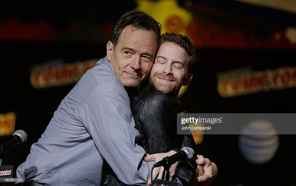 Bryan Cranston and Seth Green from Supermansion speak at New York ComicCon 2015 day 4 at the Jacob K Javits Convention Center on October 11 2015 in...