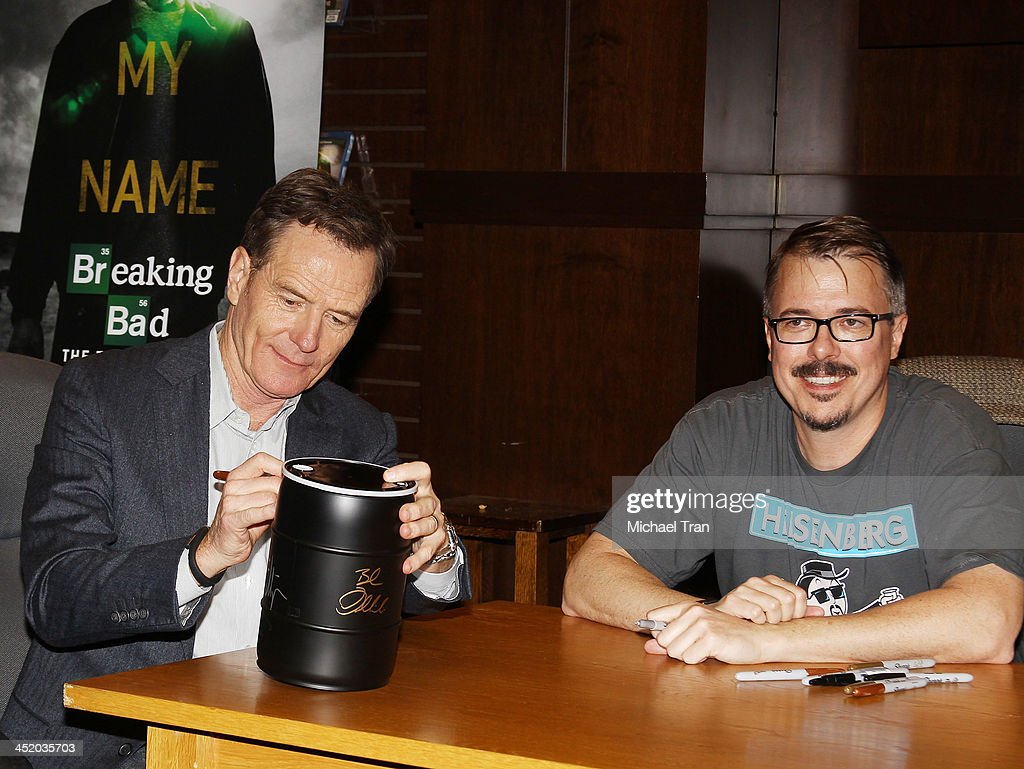 Bryan Cranston and Vince Gilligan attend the 'No Half Measures Creating The Final Season Of Breaking Bad' DVD launch signing held at Barnes Noble...