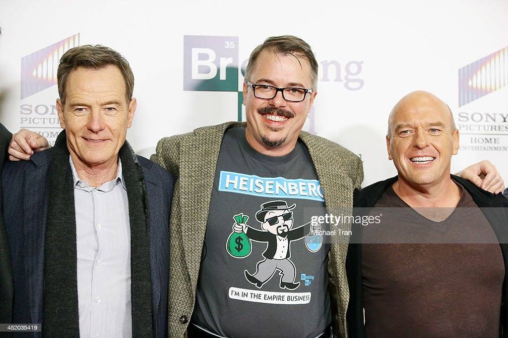 Bryan Cranston Vince Gilligan and Dean Norris attend the 'No Half Measures Creating The Final Season Of Breaking Bad' DVD launch held at Pacific...
