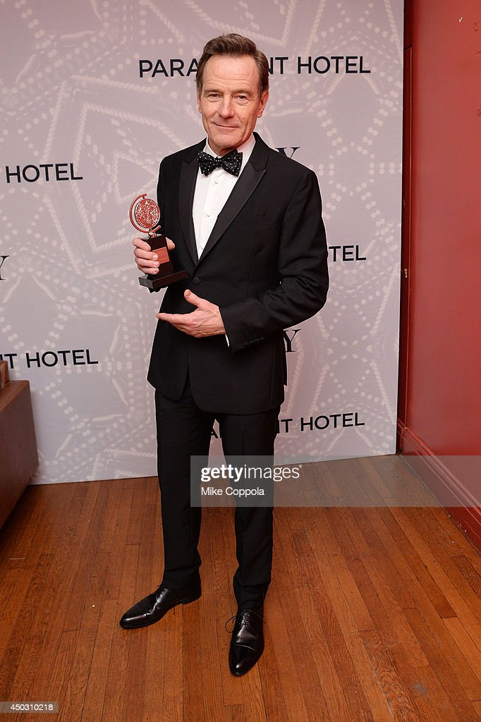"<a gi-track='captionPersonalityLinkClicked' href=/galleries/search?phrase=Bryan+Cranston&family=editorial&specificpeople=217768 ng-click='$event.stopPropagation()'>Bryan Cranston</a>, winner of the award for Best Performance by an Actor in a Leading Role in a Play for ""All The Way', poses in the Paramount Hotel Winners' Room at the 68th Annual Tony Awards on June 8, 2014 in New York City."