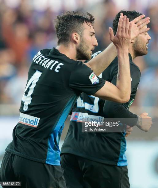 Bryan Cristante of Atalanta BC celebrates his goal during the Serie A match between Atalanta BC and US Sassuolo at Stadio Atleti Azzurri d'Italia on...
