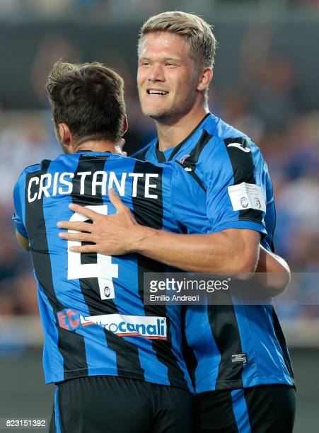 Bryan Cristante of Atalanta BC celebrates his goal with his teammate Andreas Cornelius during the preseason friendly match between Atalanta BC and...